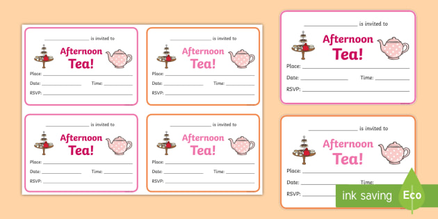 Afternoon Tea Invitation Writing Frames party invite party
