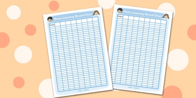 Editable Home Learning Record Chart - record, chart, learning