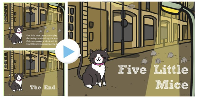 Five Little Mice Counting Song PowerPoint - Mice, Song, Count