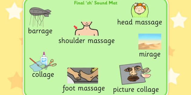 Final 'zh' Sound Word Mat - zh sound, final, word mat, word, mat