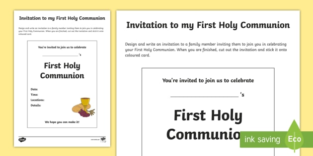 Invitation To My First Holy Communion Write Up Worksheet