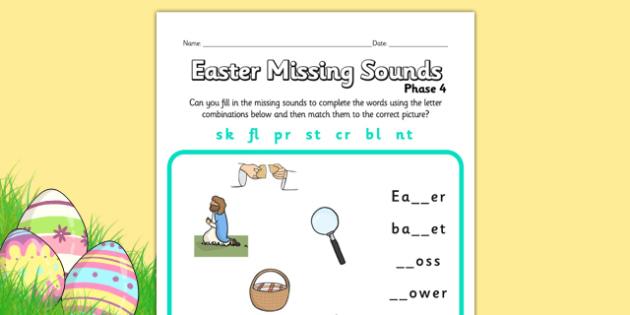 Easter Phase 4 Missing Blends Worksheet - easter, phase 4, phases