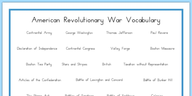 USA Revolutionary War Vocabulary Word Mat - US Resources, Revolutionary War, Vocabulary, united, states