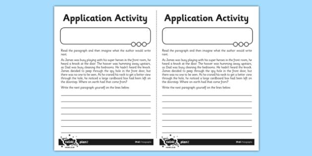 Paragraphs Application Activity Sheet - GPS, sentence, text, cohesion, worksheet