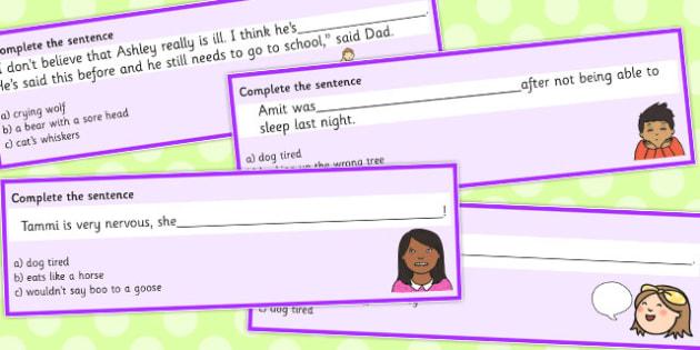 Animal Idioms Complete The Sentence Set 3 - animal, idioms, set 3