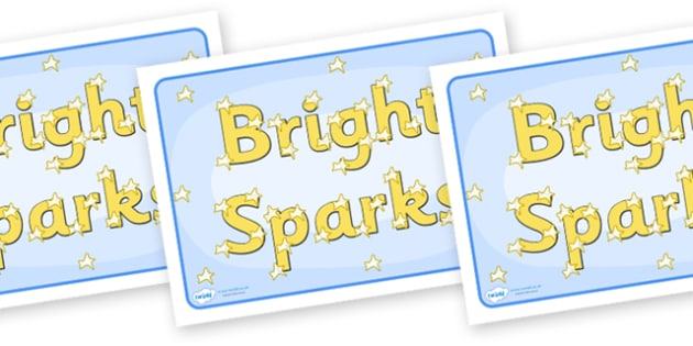 Group Signs (Bright Sparks) - bright, sparks, group signs, group labels, group table signs, table sign, teaching groups, class group, class groups, table label