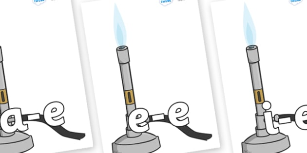 Modifying E Letters on Bunsen Burners - Modifying E, letters, modify, Phase 5, Phase five, alternative spellings for phonemes, DfES letters and Sounds