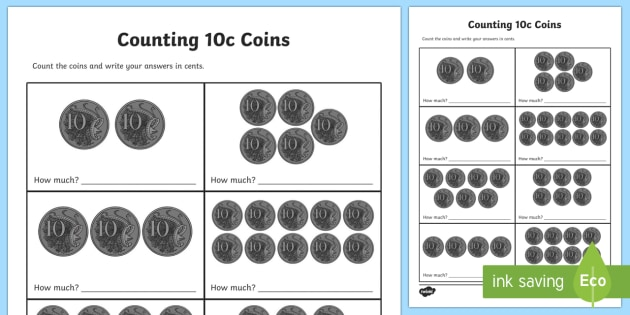 Counting 10c Coins Worksheet / Activity Sheet