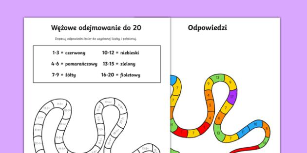 Karta Odejmowanie z wężem do 20 po polsku , worksheet