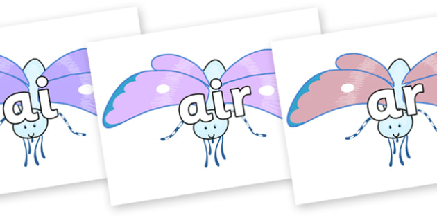 Phase 3 Phonemes on Blue Butterfly to Support Teaching on The Crunching Munching Caterpillar - Phonemes, phoneme, Phase 3, Phase three, Foundation, Literacy, Letters and Sounds, DfES, display