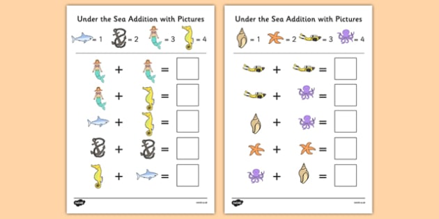 Under the Sea Themed Addition with Pictures Activity Sheet Pack - under the sea, addition, pictures, themed, activity, worksheet
