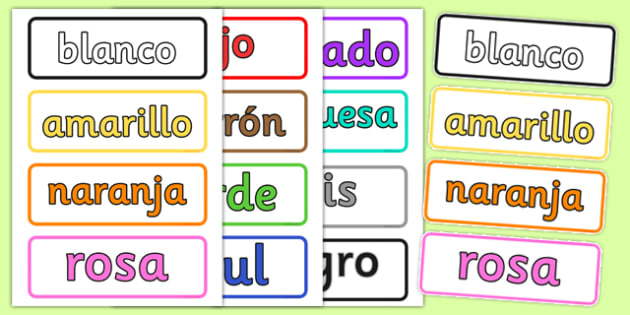 Spanish Colour Vocabulary Cards - visual, aids, Spain, colouring
