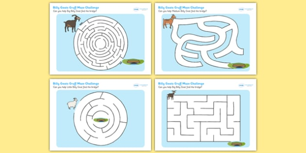 The Billy Goats Gruff Differentiated Maze Worksheet / Activity Sheet Pack, worksheet