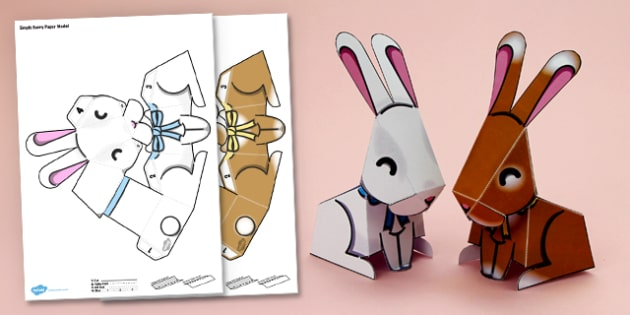 image regarding Printable 3d Paper Crafts named Straightforward 3D Paper Bunny Decoration Printable - very simple, 3d, bunny