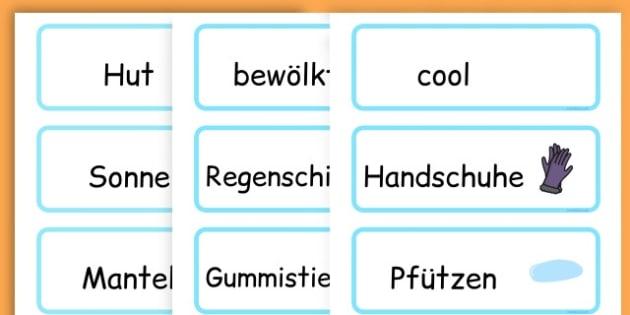 Winter Word Cards - seasons, weather, key words, visual aids  - German