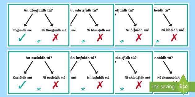 An Aimsir Fháistineach   Ceisteanna agus Freagraí Display Posters Gaeilge - Gramadach na Gaeilge, grammar, irish, ceisteanna, freagraí, answers, questions, an aimsir fháistin