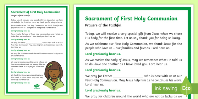 Sacrament of First Communion Prayers of the Faithful Print-Out