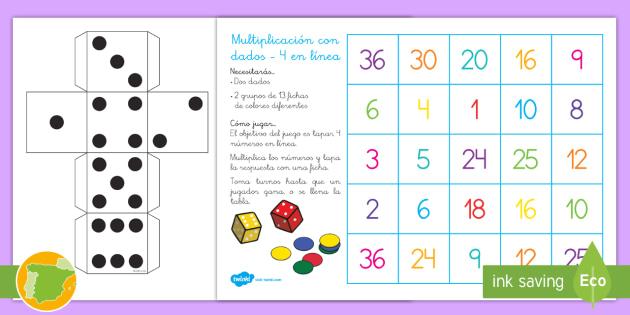 Juego De Mesa Multiplicacion Con Dados 4 En Linea 4 En Linea Dados