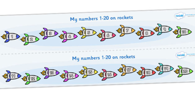 1-20 on Rockets Number Strips - Maths, Math, number track, rocket, Numberline, Number line, Counting on, Counting back, counting, space