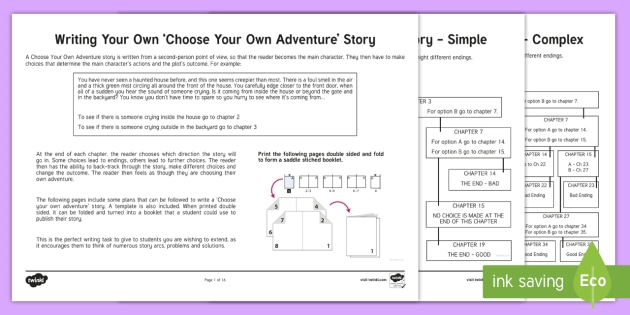 Choose your Own Adventure Writing Activity Sheets - Writing, adventure writing, choose your own adventure,Australia, worksheet, design, template