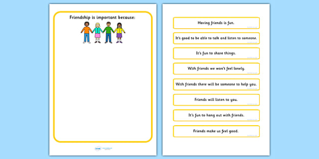 Why Is Friendship Important Worksheet - communication, friend