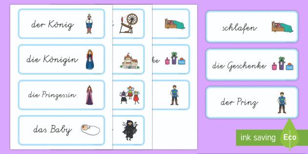 Dornröschen Wort- und Bildkarten