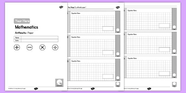 KS2 Editable Maths Arithmetic Assessment - ks2, editable, maths, assessment, arithmetic