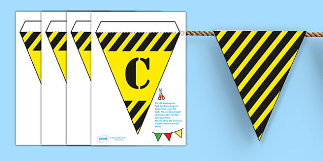 Construction Area Display Bunting - construction area, bunting, themed bunting, display bunting, display, bunting flags, flag bunting, cut out bunting