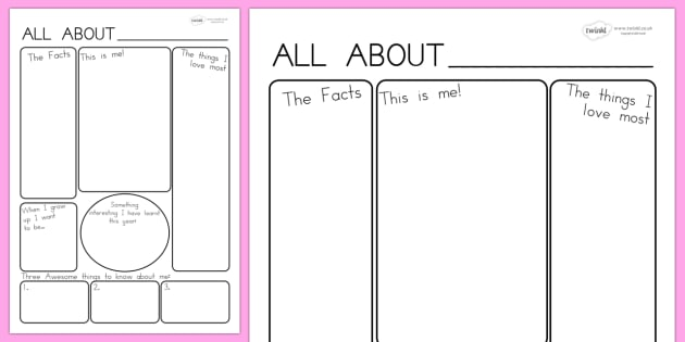 All About Me Poster Template All About Me Ourselves Me