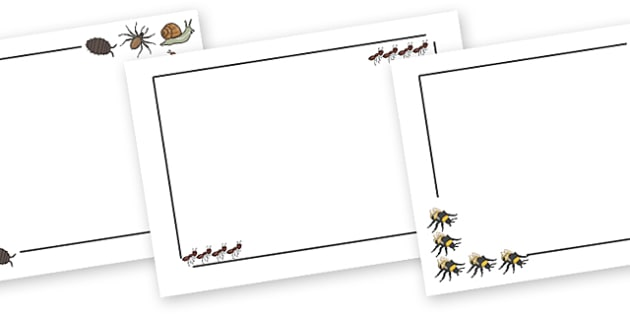 Minibeasts Page Borders (Landscape) - page border, border, frame, writing frame, minibeasts, insects, minibeast borders, writing template, writing aid, writing, A4 page, page edge, writing activities, lined page, lined pages