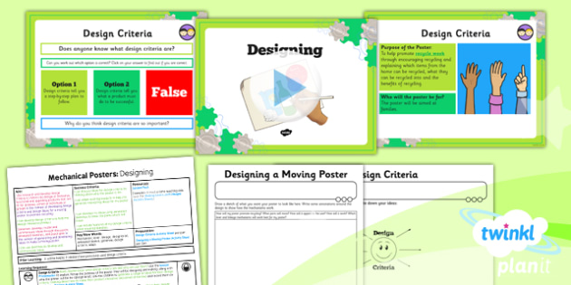 D&T: Mechanical Posters: Designing LKS2 Lesson Pack 3