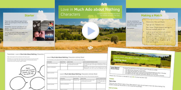 Love in Much Ado About Nothing Characters Lesson Pack - shakespeare