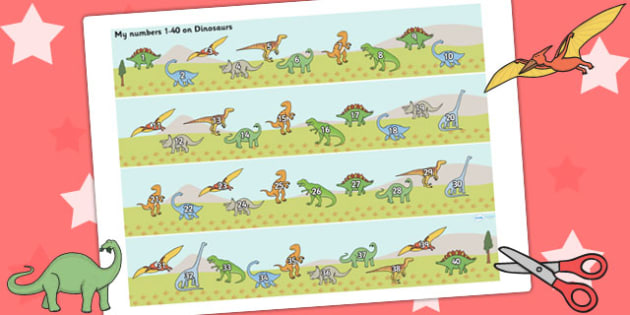 1-40 on Dinosaurs Number Strips - Maths, Math, number track, dinosaur, Numberline, Number line, Counting on, Counting back, counting, t-rex, stegosaurus, raptor, iguanodon, tyrannasaurus rex