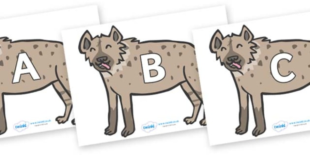 A-Z Alphabet on Hyenas - A-Z, A4, display, Alphabet frieze, Display letters, Letter posters, A-Z letters, Alphabet flashcards