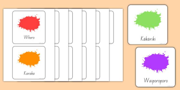 Colour Flashcards Māori - colour, colouring, te reo, nz, new zealand, rainbows, art, design