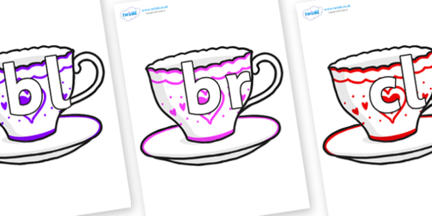 Initial Letter Blends on Cups and Saucers - Initial Letters, initial letter, letter blend, letter blends, consonant, consonants, digraph, trigraph, literacy, alphabet, letters, foundation stage literacy