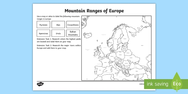 europe mountain ranges worksheet european countries. Black Bedroom Furniture Sets. Home Design Ideas