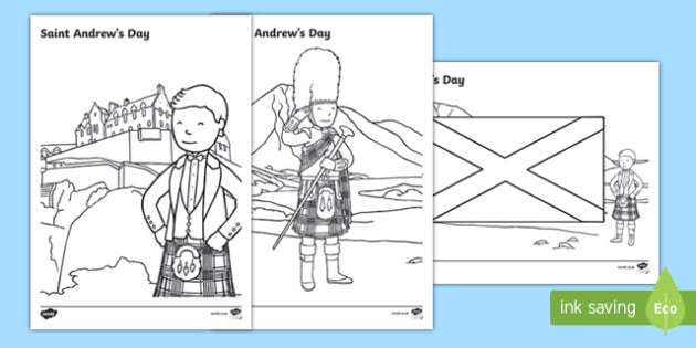 Saint Andrew's Day Scottish Colouring Pages-Scottish