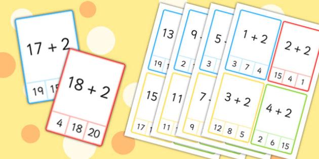 Plus 2 Peg Cards to 20 - plus 1, peg, cards, 20, numeracy, maths