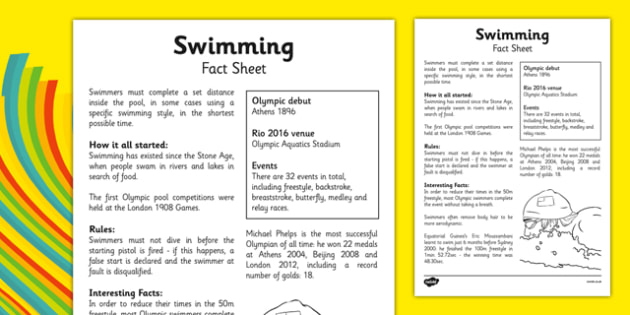 The Olympics Swimming Fact Sheet - rio, 2016, olympic, games, athletes, swim, swimming, sport, information, facts, research