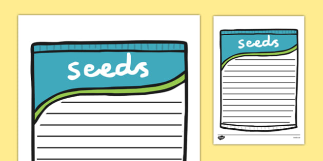 Seed Packet Writing Frame - seeds, plants, flowers, growth