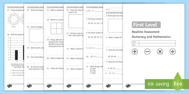 CfE First Level Baseline Test - assessment, CfE, maths, numeracy, baseline,test,Scottish