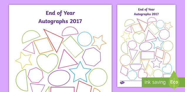 End of Year Autographs Worksheet / Activity Sheet