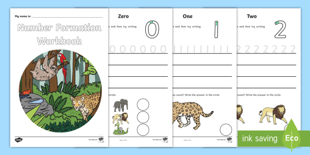 Number Formation Workbook Jungle - number, formation, jungle, overwriting