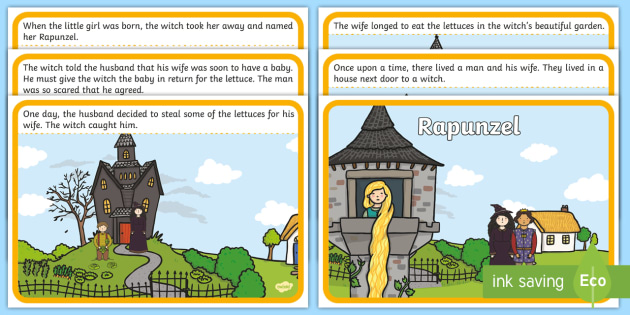 Rapunzel Story Sequencing - rapunzel story sequencing, rapunzel story with words, rapunzel story cards, traditional tales story, traditional tale posters, reading