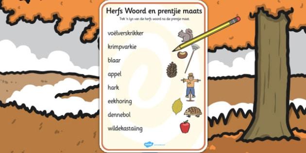 Afrikaans Herfs Woord/Prentjie Legkaart - legkart, woordeskat, herfs, pas by mekaar