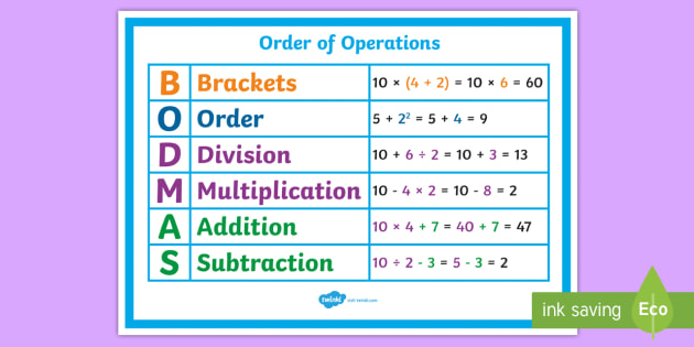 T2 M 1357 New Order Of Operations Bodmas Poster on 8 Free Printable Number Worksheets