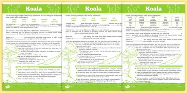 Australian Animals Years 3-6 Koala Differentiated Cloze Passage Activity Sheet - australia, Australian Curriculum, animals, marsupials, koala, differentiated, cloze, fast finisher, information, reading, worksheet