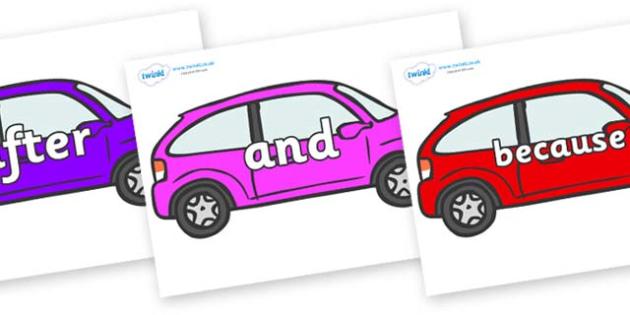 Connectives on Cars - Connectives, VCOP, connective resources, connectives display words, connective displays