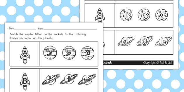 Space Themed Capital Letter Matching Worksheet - australia, space